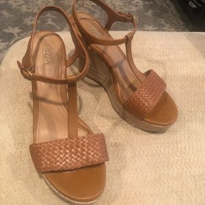UGG leather & straw wedges